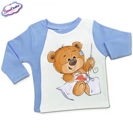 Бебешка жилетка в синьо и бяло Мечо шиe