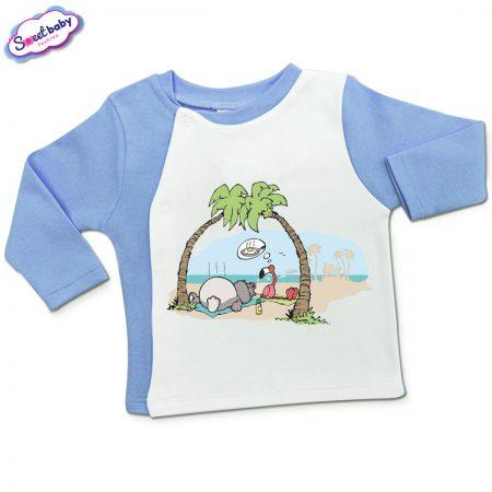 Бебешка жилетка в синьо и бяло Фламинго-мечти