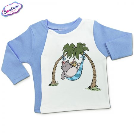 Бебешка жилетка в синьо и бяло Хипо-коктейл