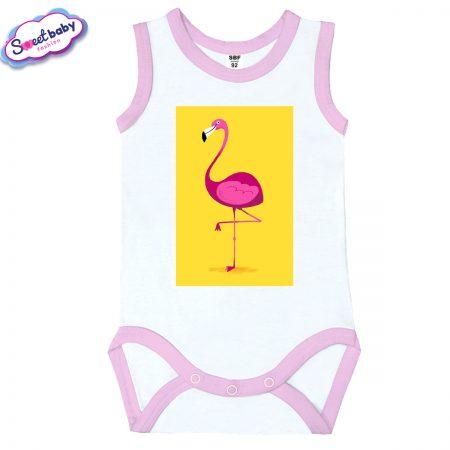 Бебешко боди потник с розов кант Фламинго