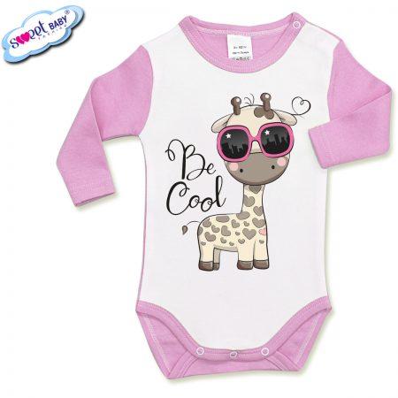 Бебешко боди с дълъг ръкав в розово и бяло Готина