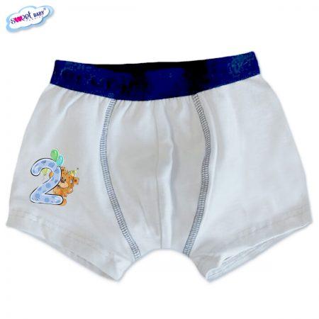 Детски боксерки в бяло и синьо Две годинки