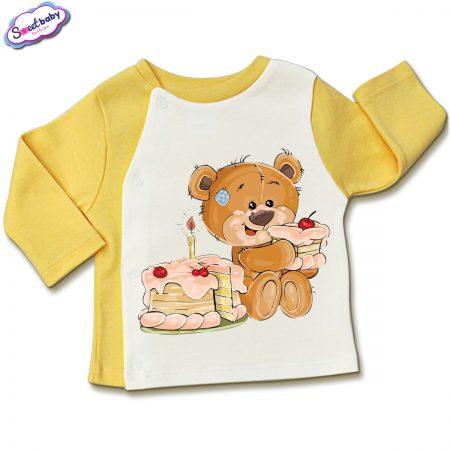 Бебешка жилетка в жълто и бяло Торта за мечо