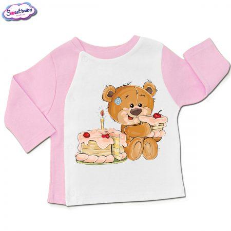 Бебешка жилетка в розово и бяло Торта за мечо