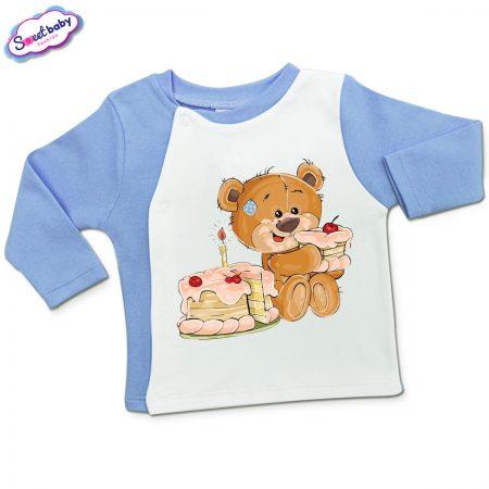 Бебешка жилетка в синьо и бяло Торта за мечо