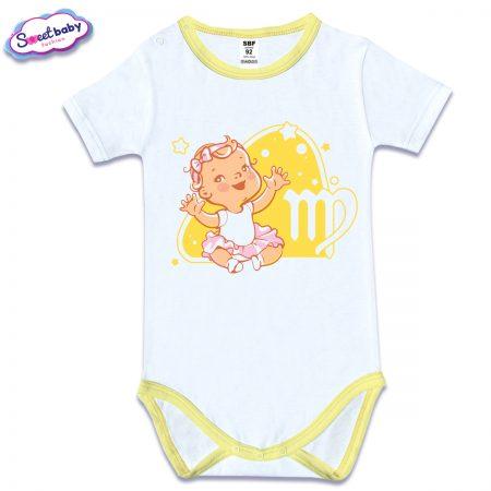 Бебешко боди в бяло с жълт кант и къс ръкав Дева -Virgo