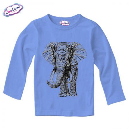 Детска блузка с дълъг ръкав в синьо Слон