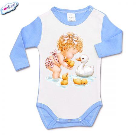 Бебешко боди с дълъг ръкав в синьо и бяло Детенце с патета