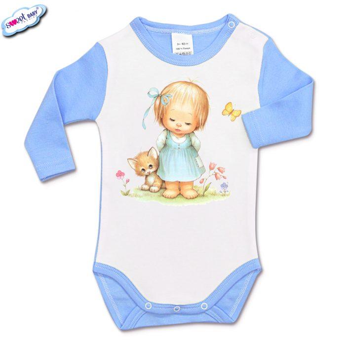 Бебешко боди с дълъг ръкав в синьо и бяло Момиченце в градинка