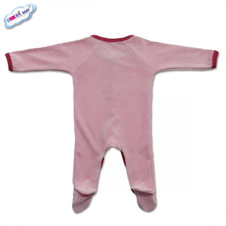 Бебешко гащеризонче от плюш в розово с червен кант-гръб