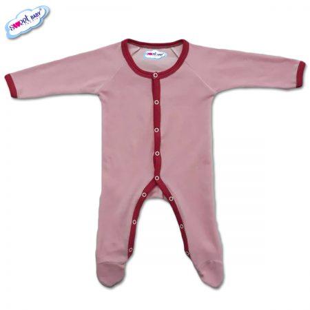 Бебешко гащеризонче от плюш в розово с червен кант