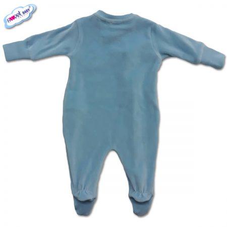 Бебешко гащеризонче от плюш в синьо-гръб