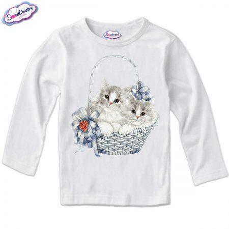 Детска блузка в бяло с дълъг ръкав Мацета в кошничка