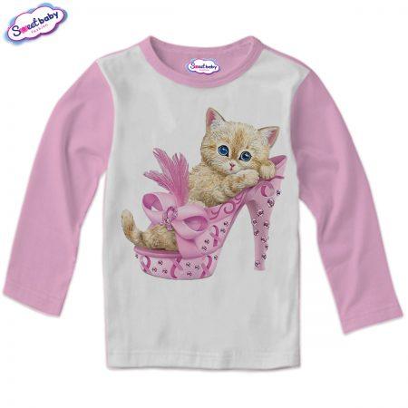 Детска блузка в розово Маце в обувка