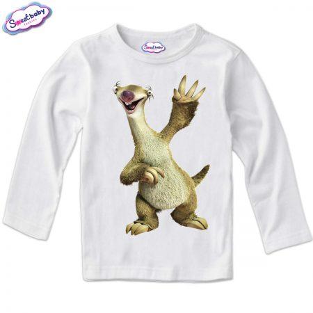 Детска блузка с дълъг ръкав в бяло Sid