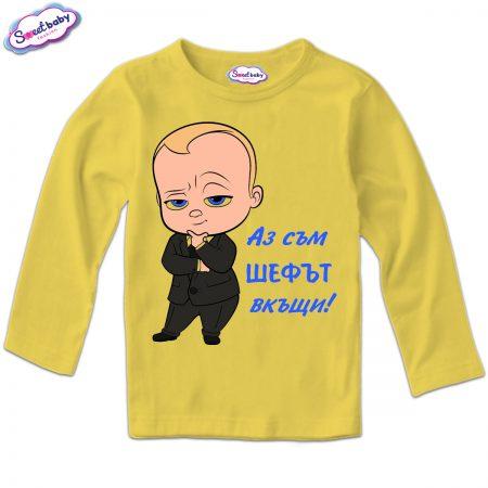 Детска блузка с дълъг ръкав в жълто Шеф