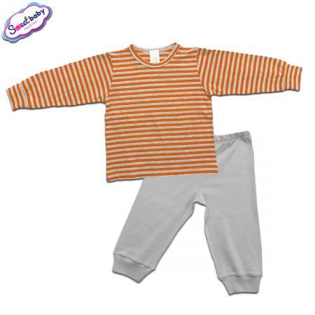 Детска пижамка в сиво и оранжево райе