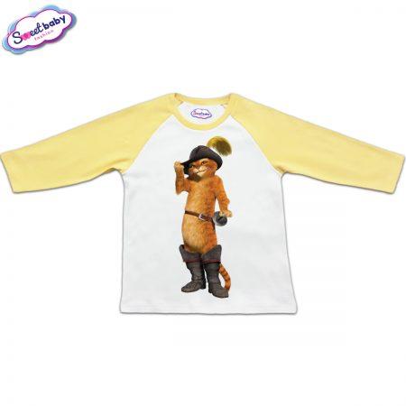 Блузка с дълъг ръкав в жълто и бяло Котаракът Пух