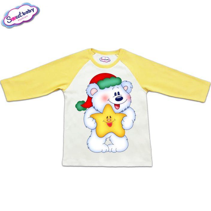 Блузка с дълъг ръкав в жълто и бяло Мече със звездичка