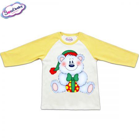 Блузка с дълъг ръкав в жълто и бяло Мече с подарък