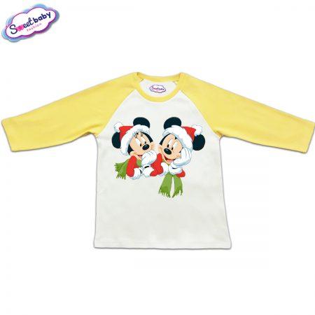 Блузка с дълъг ръкав в жълто и бяло Мики и Мини с шалчета