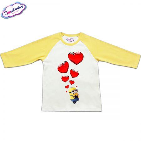 Блузка с дълъг ръкав в жълто и бяло Миньон и сърца