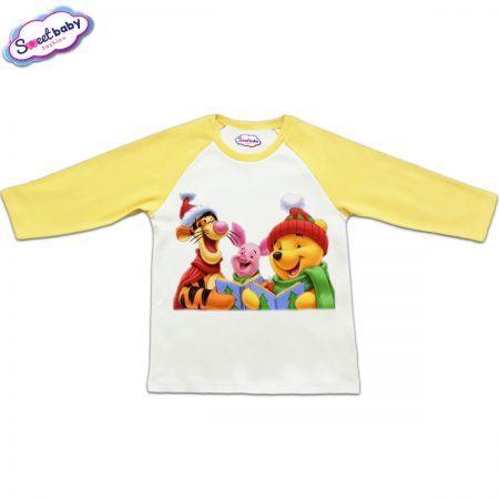 Блузка с дълъг ръкав в жълто и бяло Пух, Прасчо и Тигър на Коледа