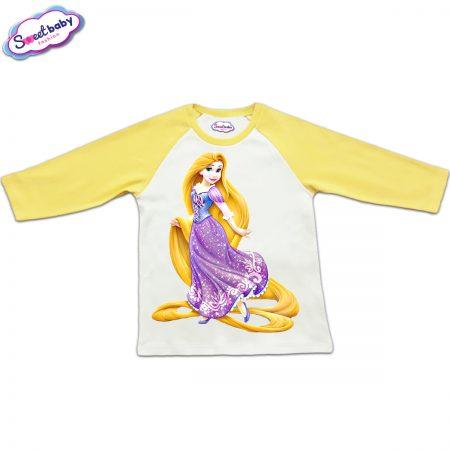 Блузка с дълъг ръкав в жълто и бяло Рапунцел