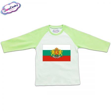 Блузка с дълъг ръкав в зелено и бяло Българско знаме