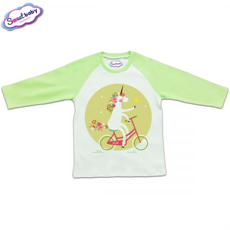 Блузка с дълъг ръкав в зелено и бяло Еднорог на колело