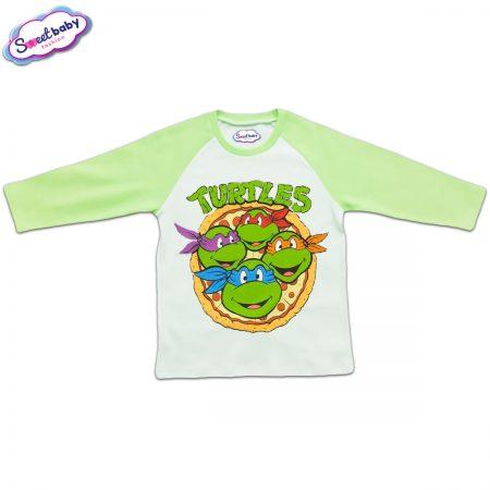 Блузка с дълъг ръкав в зелено и бяло Костенурките Нинджа