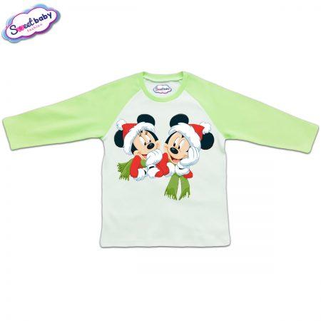 Блузка с дълъг ръкав в зелено и бяло Мики и Мини с шалчета