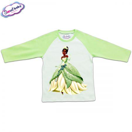 Блузка с дълъг ръкав в зелено и бяло Тиана