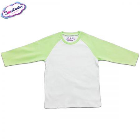 Блузка с дълъг ръкав в зелено и бяло