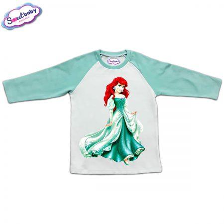 Блузка с дълъг ръкав в мента и бяло Ариел