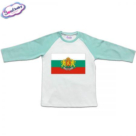 Блузка с дълъг ръкав в мента и бяло Българско знаме