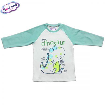 Блузка с дълъг ръкав в мента и бяло Динозавър