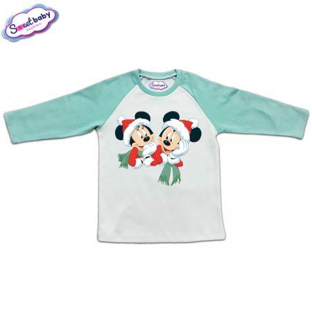 Блузка с дълъг ръкав в мента и бяло Мики и Мини с шалчета