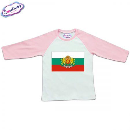 Блузка с дълъг ръкав в розово и бяло Българско знаме