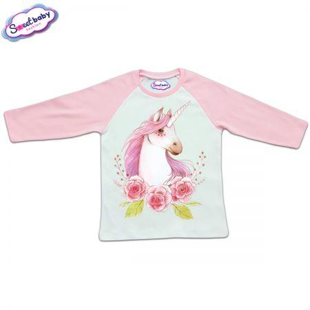 Блузка с дълъг ръкав в розово и бяло Вълшебният еднорог