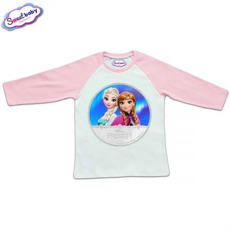 Блузка с дълъг ръкав в розово и бяло Елза и Анна