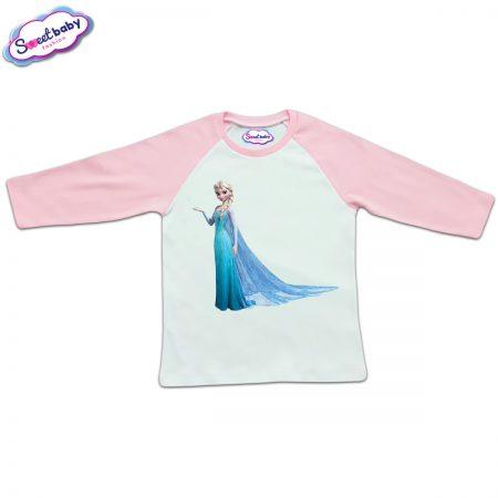 Блузка с дълъг ръкав в розово и бяло Елза