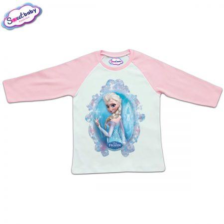 Блузка с дълъг ръкав в розово и бяло Елза Frozen
