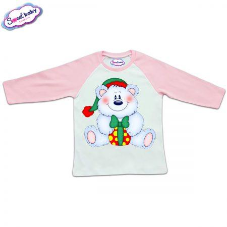 Блузка с дълъг ръкав в розово и бяло Мече с подарък