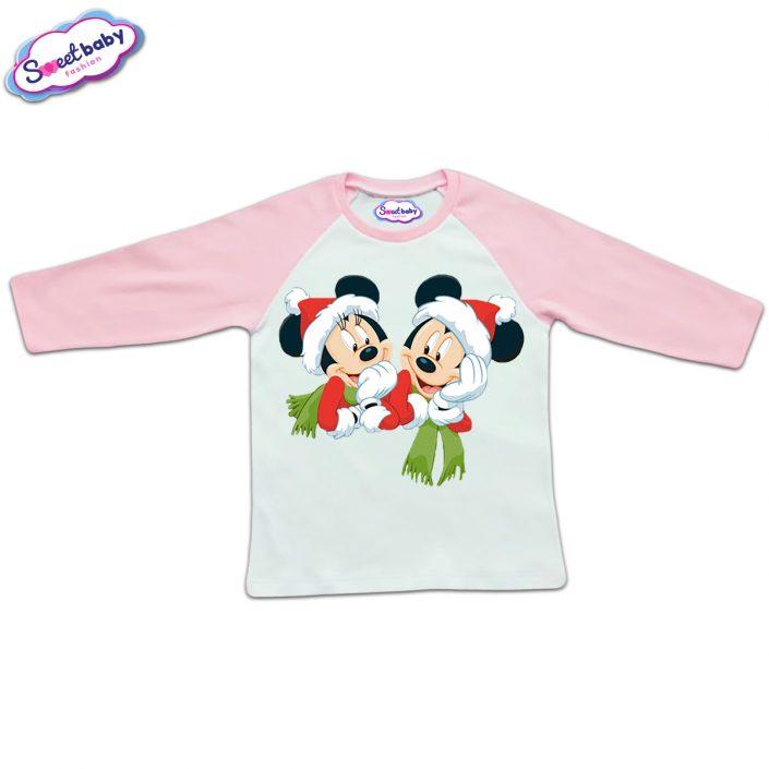 Блузка с дълъг ръкав в розово и бяло Мики и Мини с шалчета