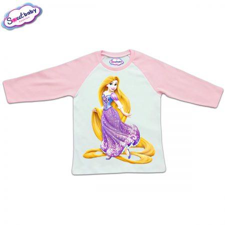Блузка с дълъг ръкав в розово и бяло Рапунцел