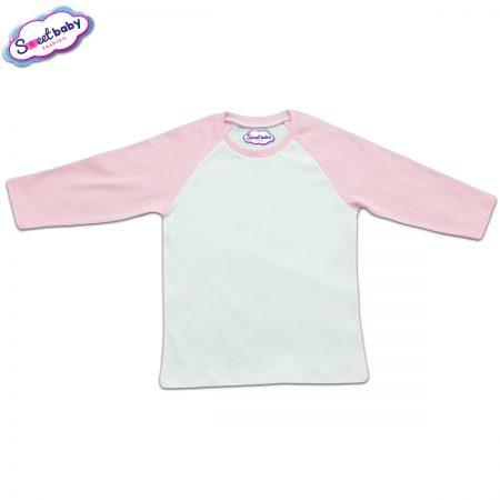 Блузка с дълъг ръкав в розово и бяло