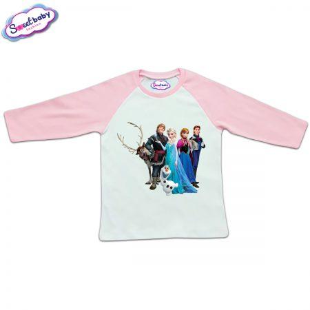 Блузка с дълъг ръкав в розово и бяло Frozen
