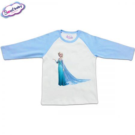 Блузка с дълъг ръкав в синьо и бяло Елза