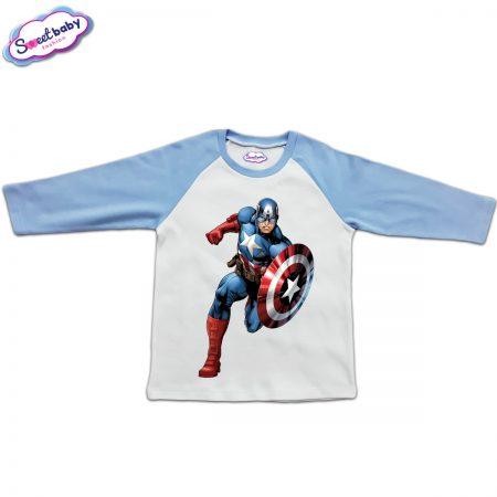 Блузка с дълъг ръкав в синьо и бяло Капитан Америка